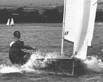 The designer crewing for Colin Humphrey in his HAZARD design Merlin/Rocket, Salcombe, 1977